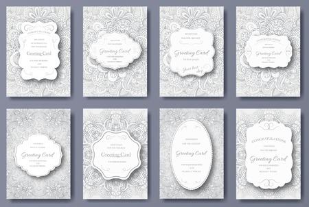婚禮: 一套婚紗卡宣傳單頁插圖點綴概念。復古的藝術傳統,伊斯蘭教,阿拉伯,印度,奧斯曼圖案,元素。矢量裝飾復古的賀卡或邀請設計。