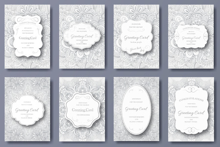 Set of wedding card flyer pages ornament illustration concept. Vintage art traditional, Islam, arabic, indian, ottoman motifs, elements. Vector decorative retro greeting card or invitation design. Vettoriali