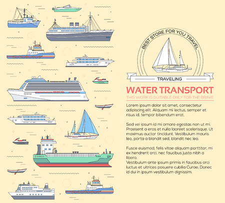 bulk carrier: Set of flat yacht, scooter, boat, cargo ship, steamship, ferry, fishing boat, tug, bulk carrier, vessel, pleasure boat, cruise ship with blue sea background concept. Vector design thin line icons Illustration