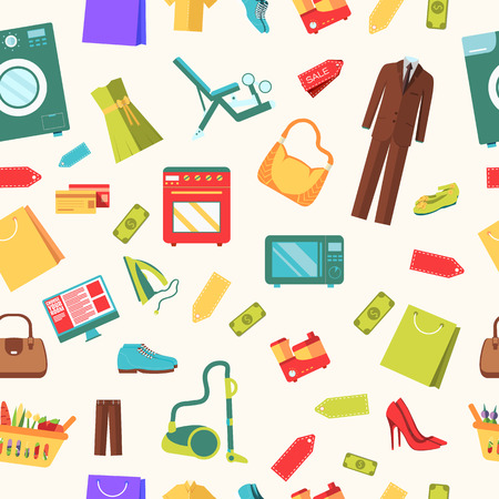 purchased: best shopping illustration concept. Template of icons seamless patern design. Many object purchased in the store. In flat sticker style Illustration