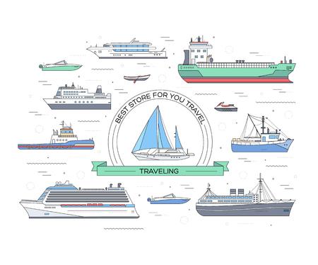 barca da pesca: Set di yacht piatta, scooter, barca, nave da carico, nave a vapore, traghetto, barca da pesca, tiro, bulk carrier, nave, barca di piacere, nave da crociera con sfondo blu mare concetto. disegno vettoriale icone delle linee sottili