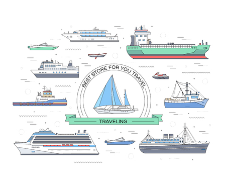 loading dock: Set of flat yacht, scooter, boat, cargo ship, steamship, ferry, fishing boat, tug, bulk carrier, vessel, pleasure boat, cruise ship with blue sea background concept. Vector design thin line icons Illustration