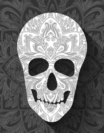 parades: skull for the illustrations concept on day of the dead. Vector template colorful abstract decorative ornament design Illustration
