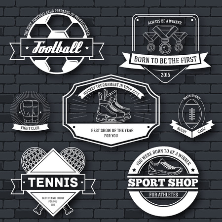 Sport set label template of emblem element for your product, emblem, logo or design, web and mobile applications with text. Vector illustration with thin lines isolated icons on stamp symbol Illustration