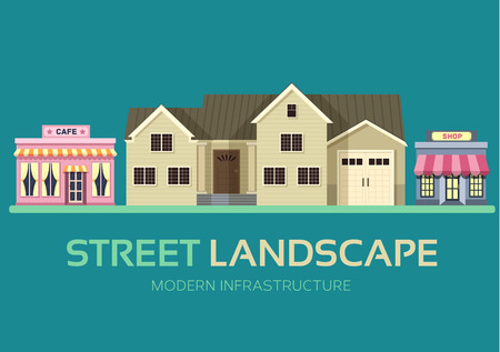 resident: Flat colorful vector city buildings street landscape. Icon background concept design. Vector urban landscape background. Architecture construction: shop, house, cafe