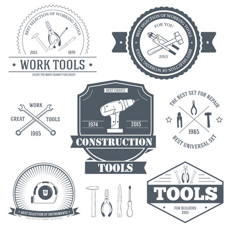 industrial decor: work tools set label template of emblem element for your product or design, web and mobile applications with text. Vector illustration with thin lines isolated icons on stamp symbol. Illustration