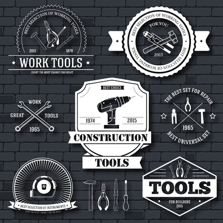 work tools set label template of emblem element for your product or design, web and mobile applications with text. Vector illustration with thin lines isolated icons on stamp symbol. Иллюстрация