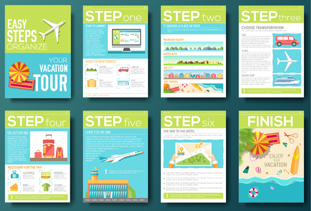 web design template: easy steps organize for your vacation tour flyer with infographics and placed text. Illustrated guide travel background. Book cover template design for web and mobile application on flat style