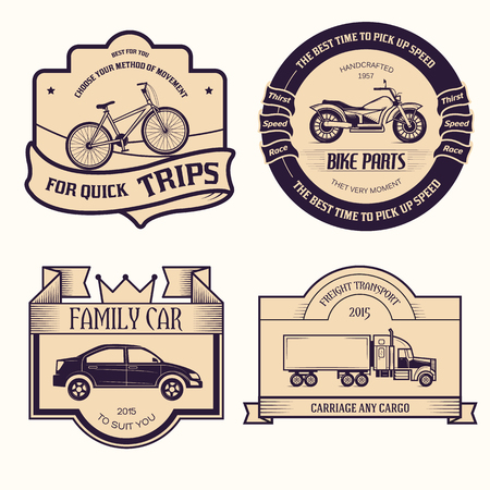 transports set retro label template of emblem element for your product or design, web and mobile applications with text. Vector illustration with thin lines isolated icons on stamp symbol. Illustration