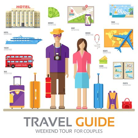 tour guide: Travel guide infographic with vacation tour locations and items. Tourism with fast travel of the world on a flat design style. Vector illustration concept icons set
