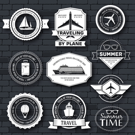 cruise ship: Travel set label template of emblem element for your product or design, web and mobile applications with text. Vector illustration with thin lines isolated icons on stamp symbol