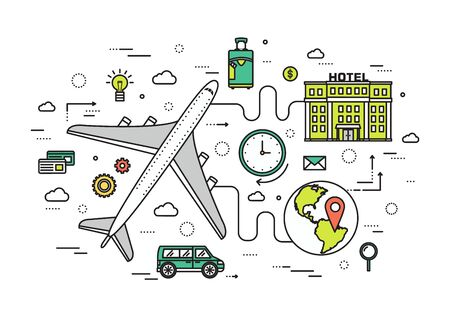 journey: Thin line travel vacation modern illustration concept. Infographic guide way from the plane to the hotel. Icons isolated on white background. Flat vector template design for web and mobile application