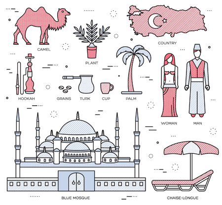 travel features: Country Turkey travel of goods, places and features in thin lines style design. Set of architecture, fashion, people, items, nature background concept. Infographic template for web and mobile on flat