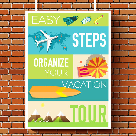 tour guide: easy steps organize for your vacation tour flyer with infographics and placed text. Illustrated guide travel background. Book cover template design for web and mobile application on flat style