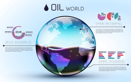 gas ball: glasses world oil background infographic concept. vector illustration design template