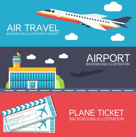 private jet: flat building airport with flying plane tour and ticket concept banners or card.