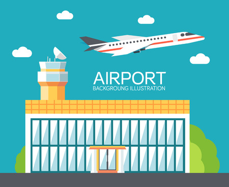 private jet: flat building airport with flying plane tour concept background.