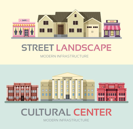 city road: Landscape street town banners set. Town vector illustration design Illustration