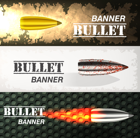Banner of flying bullet ob military background concept. Danger vector illustration Illustration