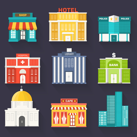 sity: Flat colorful vector sity buildings set. Icon background concept design. Illustration