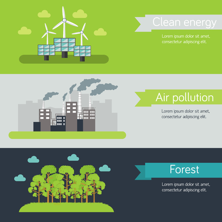 purification: ecological horizontal banners vector illustration concept. Template for website