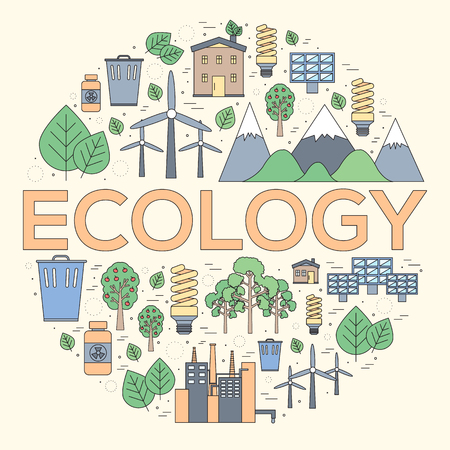 natural energy: Thin line natural resources modern illustration concept. Infographic way from ecology to clean energy. Icons on isolated white background.