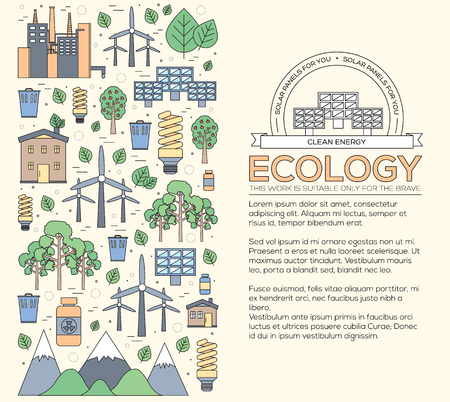 clean energy: Thin line natural resources modern illustration concept. Infographic way from ecology to clean energy. Icons on isolated white background.