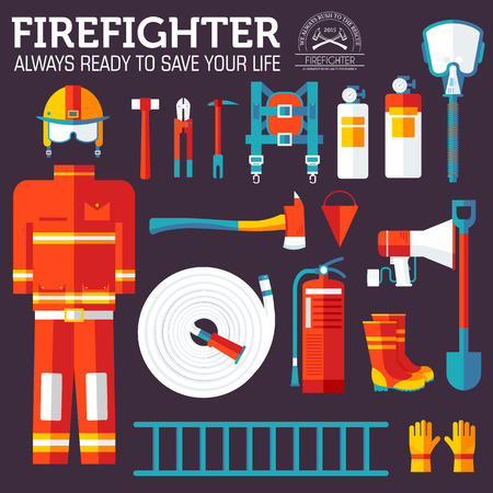 rescue: firefighter uniform and first help equipment and instruments. On flat style background concept.