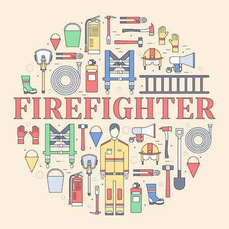 firefighter uniform: Flat firefighter uniform and first help equipment set and instruments Illustration