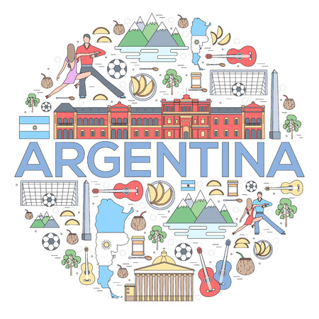 hysterical: Country Argentina travel vacation guide of goods, places and features. Set of architecture, fashion, people, items or nature background concept Illustration