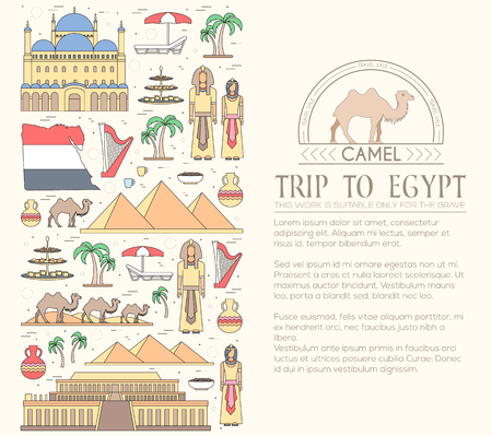 travel features: Country Egypt travel vacation guide of goods, places and features. Set of architecture, people, culture, icons background concept.