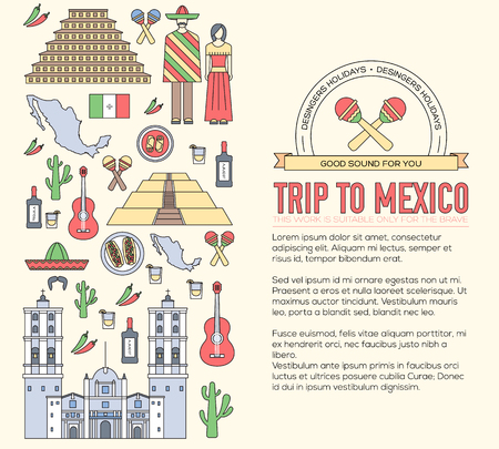 fiesta popular: Country Mexico travel vacation guide of goods, places and features. Set of architecture, food, fashion, items, nature background concept. Infographics template design. On thin lines style