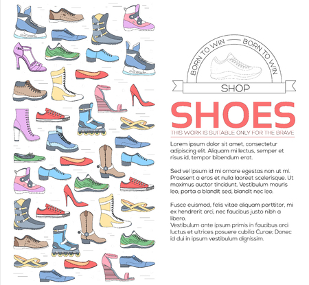 shoelace: Fashion footwear in sport. Flat thin lines shoe set icons elements concept background vector illustration