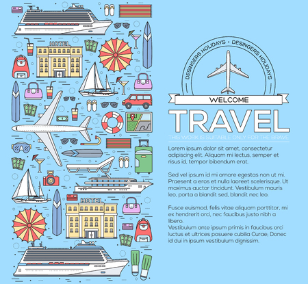 flying boat: Tourism circle concept design. Holiday vacation vector elements. Flat trip thin lines style icons illustration.