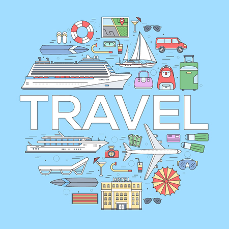 transformation: Tourism circle concept design. Holiday vacation vector elements. Flat trip thin lines style icons illustration.
