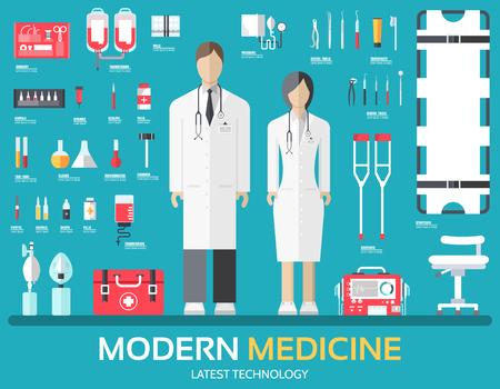 Visita al médico. equipos de suministro de medicamentos en todo el personal médico y el personal. iconos de salud planas establece la ilustración.