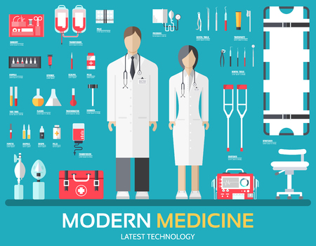 Visit to the doctor. Medicine supplies equipment around medical personnel and staff. Flat health care icons set illustration.