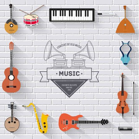 bass clef: Instrumentos musicales en blanco concepto de la pared de ladrillo moderna. Iconos del diseño de su producto o diseño, web y aplicaciones móviles.