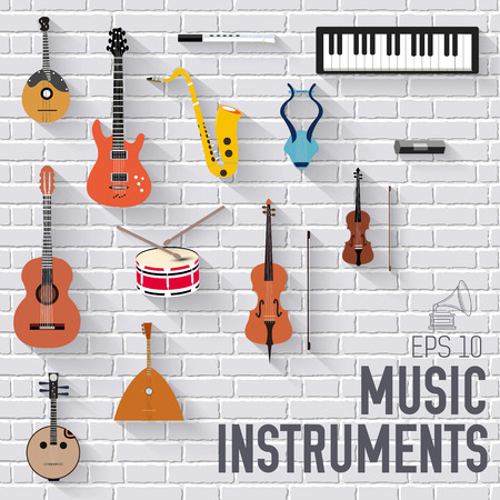 piano roll: Music instruments on white modern brick wall concept. Icons design for your product or design, web and mobile applications.
