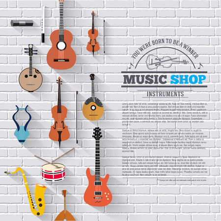 conservatory: Music instruments on white modern brick wall concept. Icons design for your product or design, web and mobile applications.
