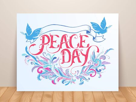 Greeting card for the holiday Peace day. Calligraphy with abstract decor ornament illustration.
