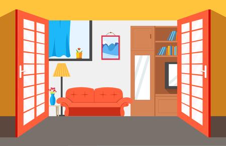 livingroom: House room vector illustration background. Flat home interior furniture picture concept.