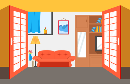 House room vector illustration background. Flat home interior furniture picture concept.