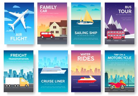 guia turistico: Las variaciones transporte de viaje de vacaciones guía infografía. Cruise, de autobuses, de volar en viaje en avión, coche. flyear vector, invitaciones, revistas, tarjetas, presentación de carteles, pancartas diseño determinado.
