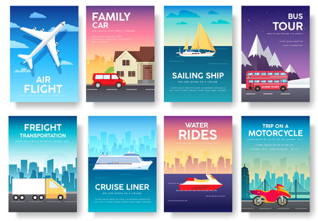 tour bus: Variations transport of travel vacation tour guide infographic. Cruise, bus, flying on plane, car journey. Vector flyear, invitations, Magazines, cards, presentation, poster, banners set design.
