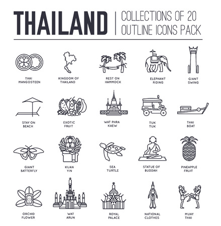 wat arun: Country thailand travel vacation guide of goods, place and feature. Set of architecture, fashion, people, item, nature background concept. Infographic traditional ethnic flat, outline, thin line icon