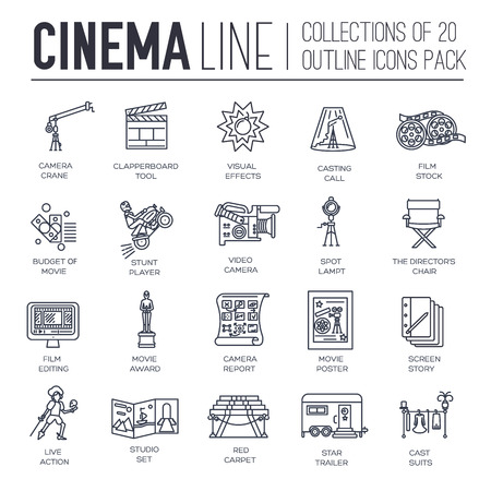 Premium quality cinema industry thin line design set. Filming minimalistic symbol pack. Outline movie technology template of icon, typography, pictogram and illustration concept background