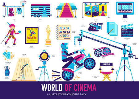 Premium quality cinema industry flat collection design set. Filming minimalistic symbol pack. Modern movie technology template of icons, typography, pictogram and illustration concept background