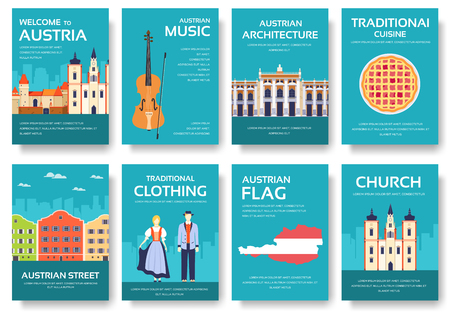 travel features: Country Austria travel vacation guide of goods, places and features. Set of architecture, fashion, people, items, nature background concept. Infographic template for web and mobile on flat style