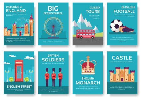 travel features: Country England travel vacation guide of goods, places and features. Set of architecture, fashion, people, items, nature background concept. Infographic template for web and mobile on flat style Illustration